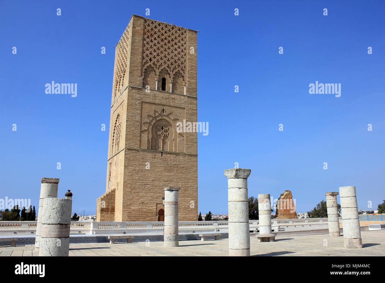 Hassan Turm a.k.a. Tour Hassan, Rabat, Marokko Stockbild