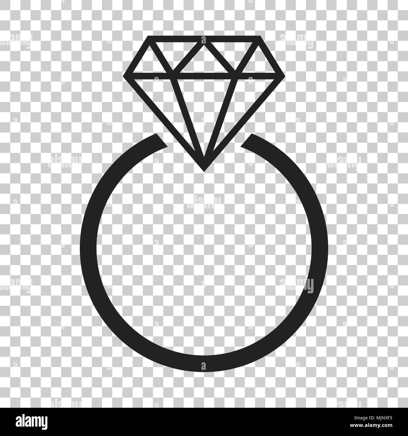 Engagement Ring Mit Diamant Vektor Icon Im Flachen Stil Hochzeit
