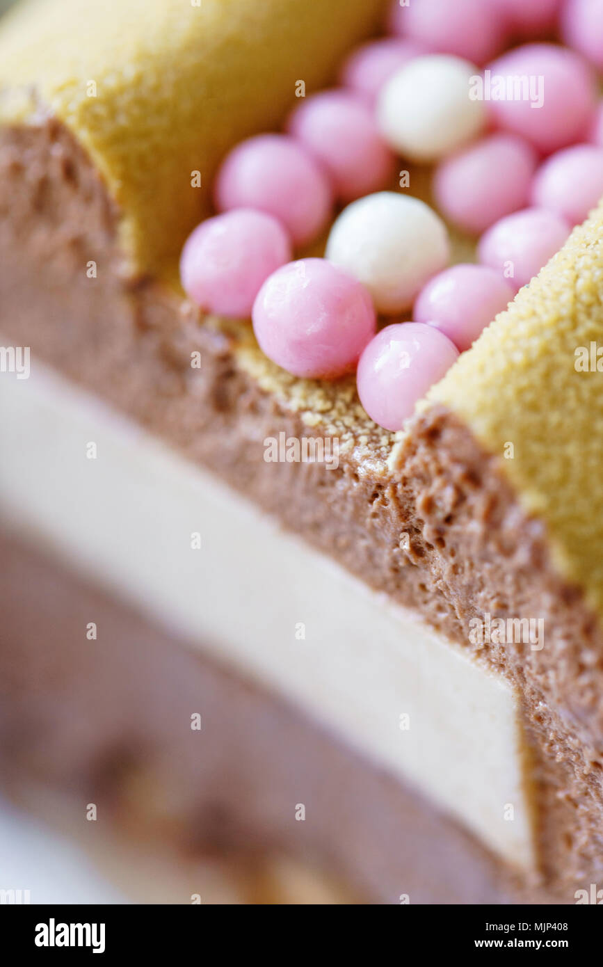 luxuriose kleine kuche, luxuriöse runde dessert mit rosa schokolade sphären. gelbe mousse, Design ideen