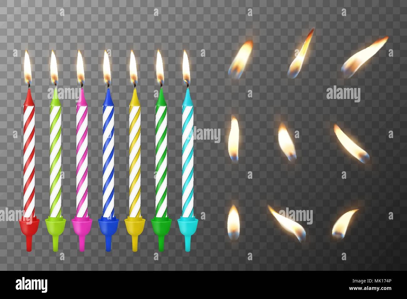 Vector 3d Realistische Verschiedene Geburtstag Kuchen Colofful Wachs