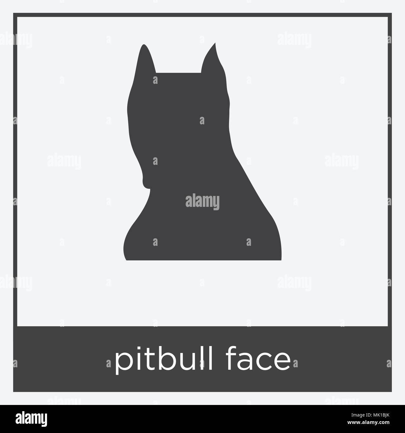 Pitbull Gesicht Symbol auf weißem Hintergrund mit grauen Rahmen ...