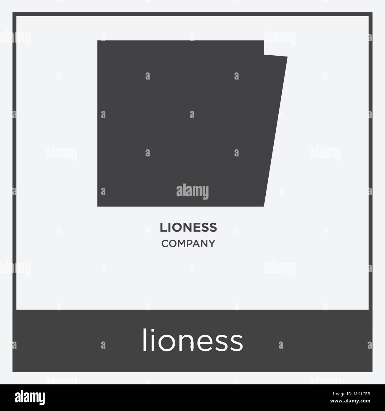 Löwin Symbol auf weißem Hintergrund mit grauen Rahmen, Zeichen und ...