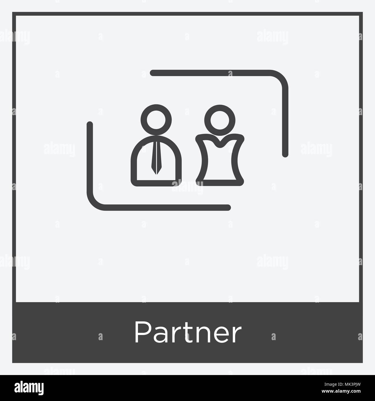 Partner Symbol auf weißem Hintergrund mit grauen Rahmen, Zeichen und ...