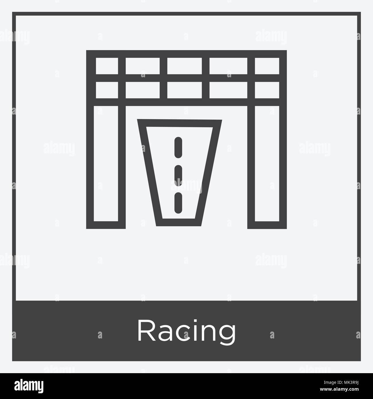 Racing - Symbol auf weißem Hintergrund mit grauen Rahmen, Zeichen ...