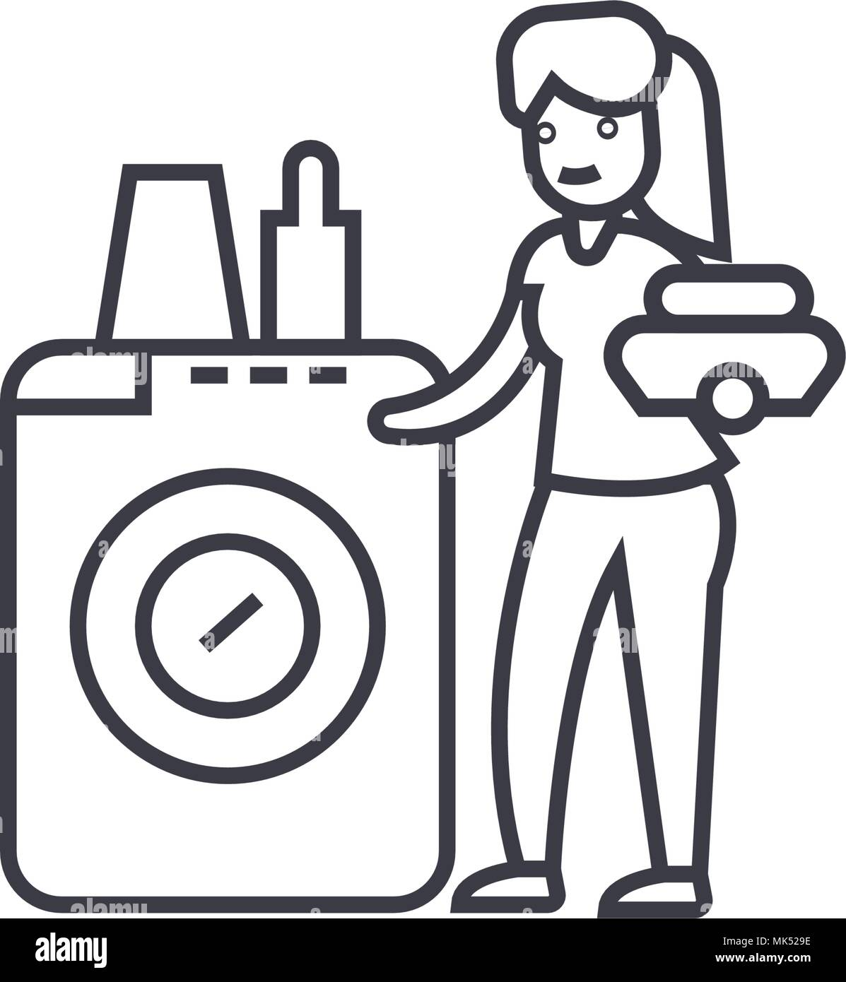 Sehr Geschirrspüler Waschmaschine vektor Symbol Leitung, Zeichen JG32