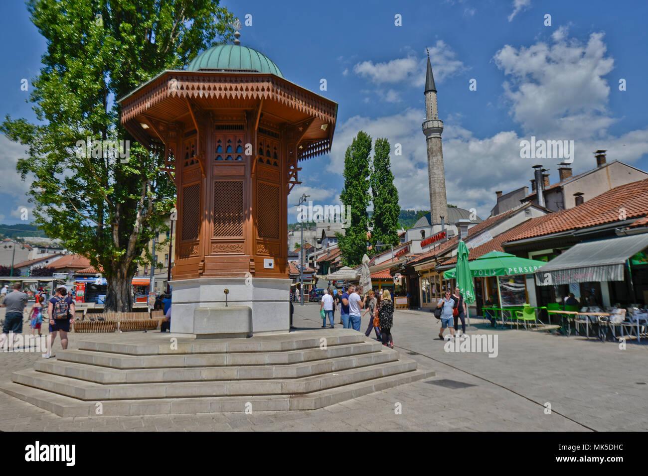 Sebilj Brunnen (Brunnen), Sarajevo Altstadt Bascarsija, Bosnien Stockbild