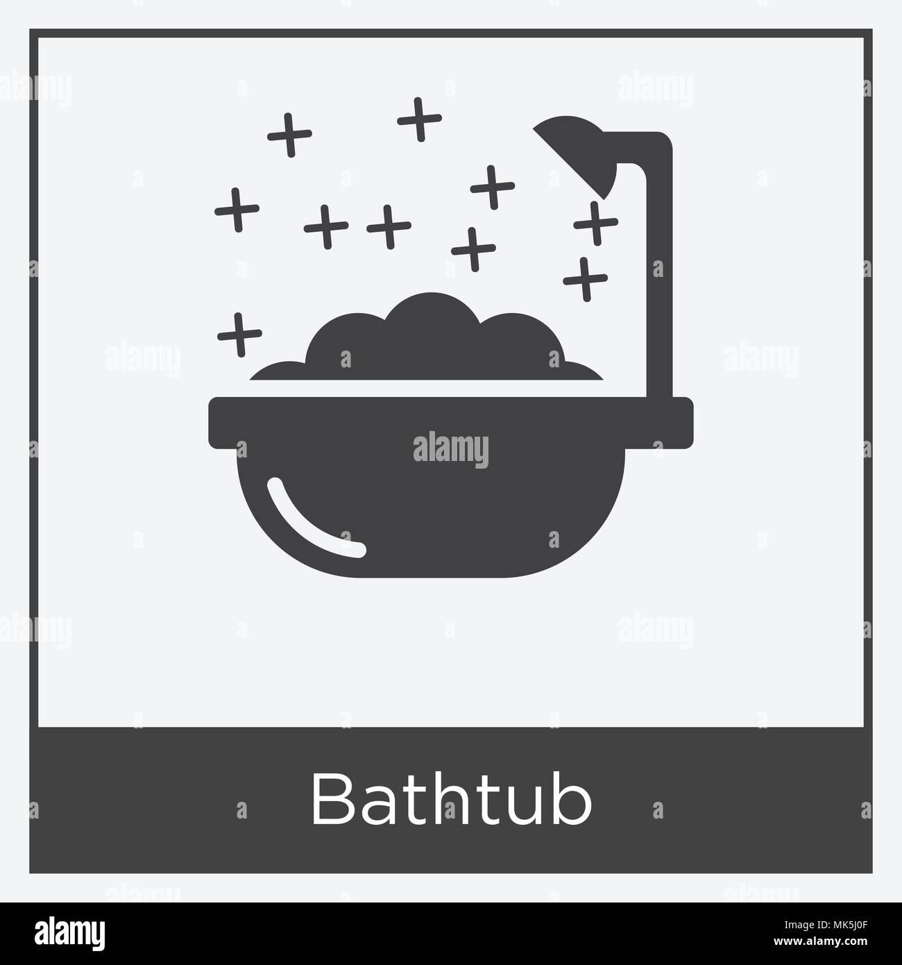Badewanne Symbol auf weißem Hintergrund mit grauen Rahmen, Zeichen ...