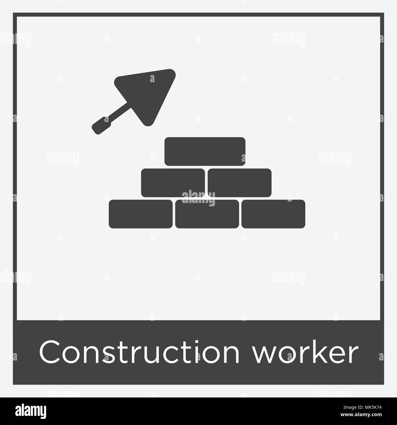 Bauarbeiter Symbol auf weißem Hintergrund mit grauen Rahmen, Zeichen ...