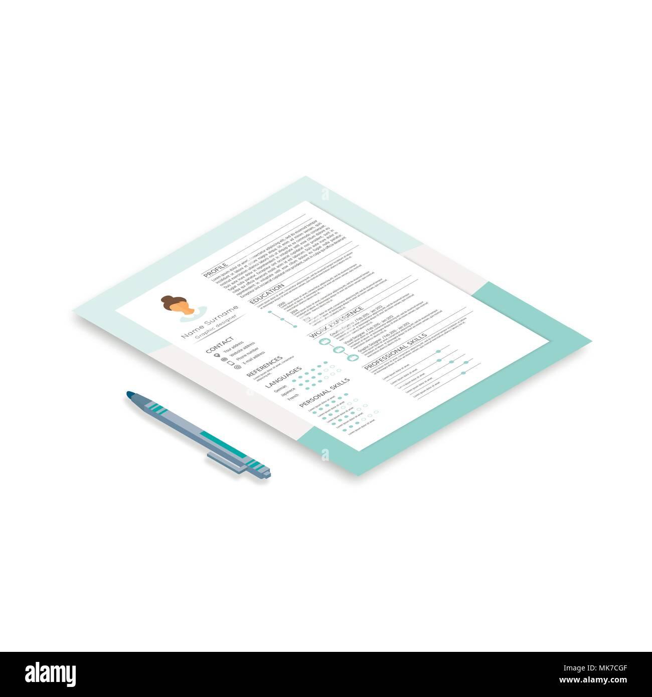 Resume Cv Curriculum Vitae Template Stockfotos Resume Cv