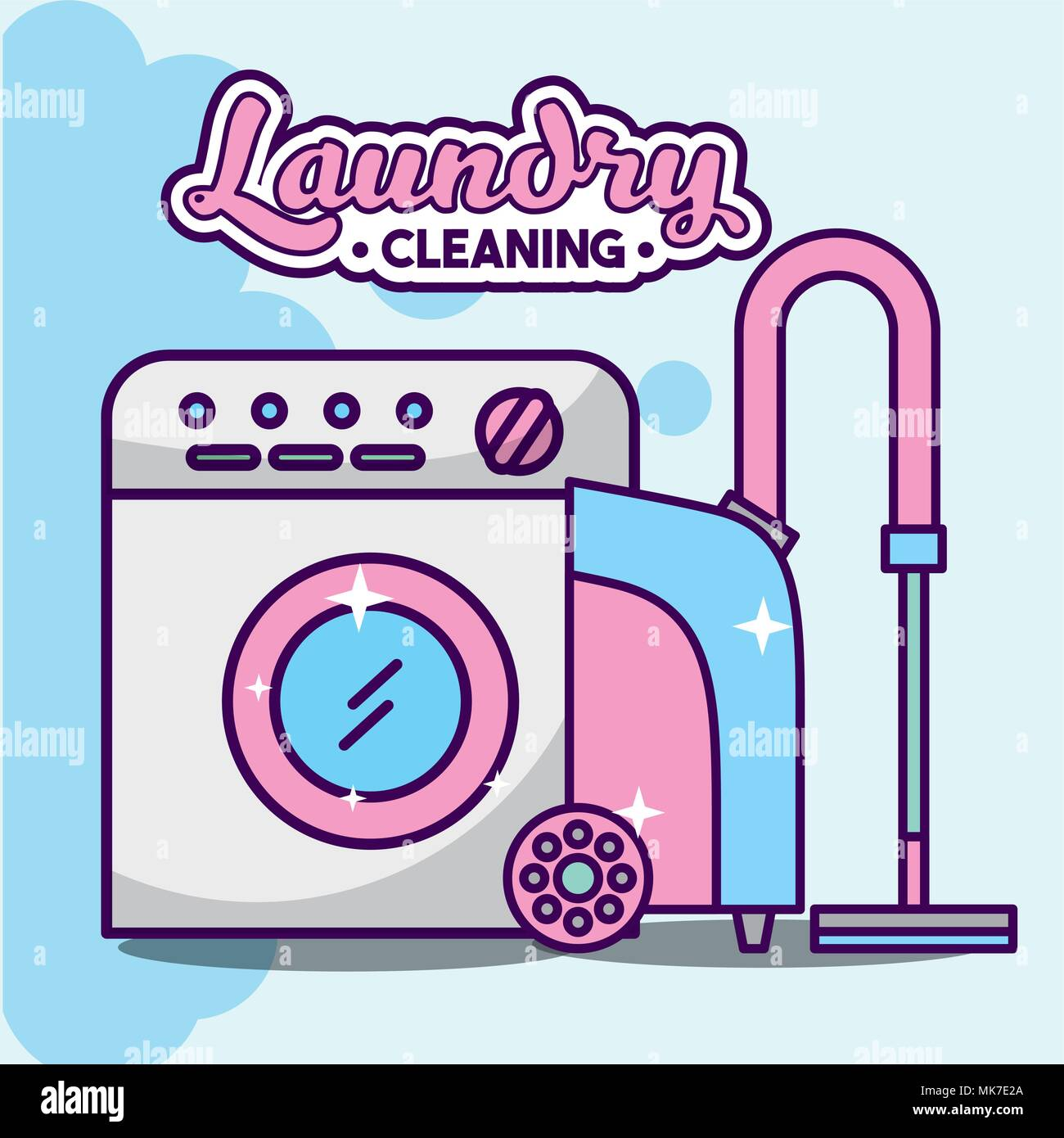 Wascheservice Reinigung Waschmaschine Und Staubsauger Gerat Vector
