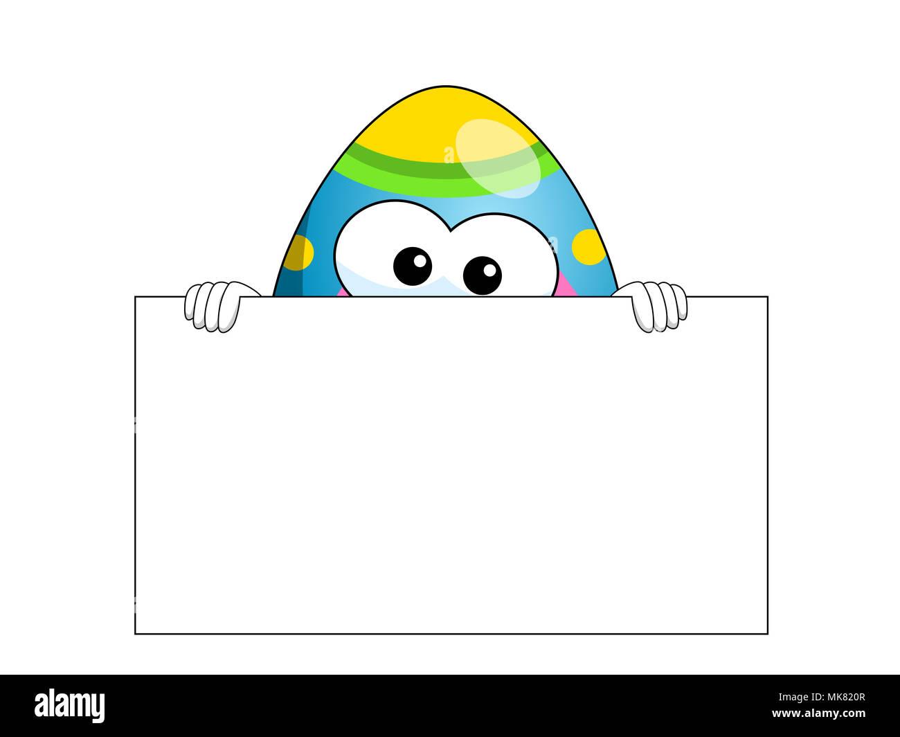 Dekoriert Maskottchen Osterei hinter leeren Banner kopieren Raum isoliert auf weißem Stockbild