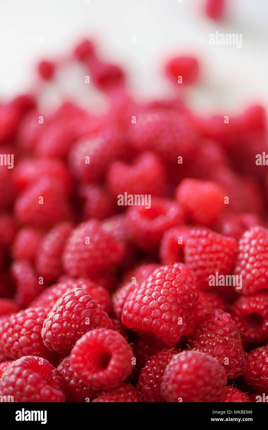 Reife Himbeeren Makro. Selektive konzentrieren. Obst Hintergrund mit kopieren. Sommer und Beeren ernten Konzept. Vegan, Vegetarisch, Rohkost. Stockfoto