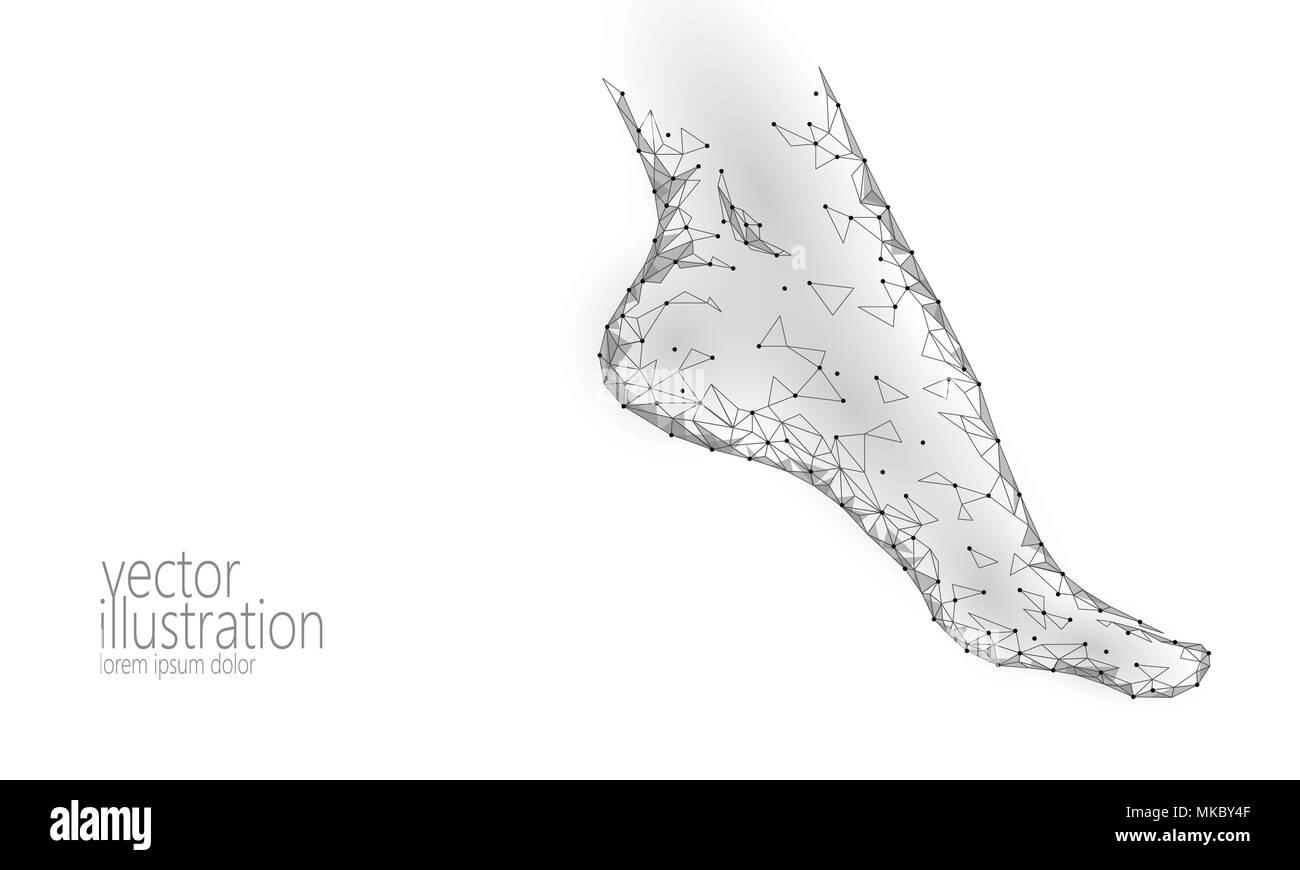 Menschliche Füße toe 3D-Low Poly machen. Polygonale grau weiß ...