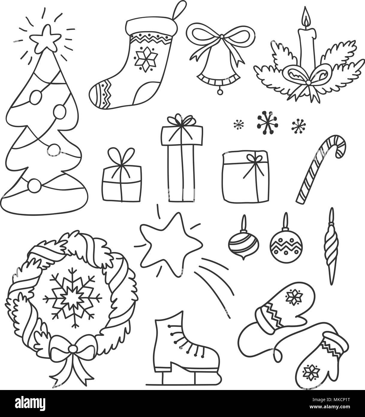 Weihnachten Satz Von Hand Gezeichnet Doodles In Einem