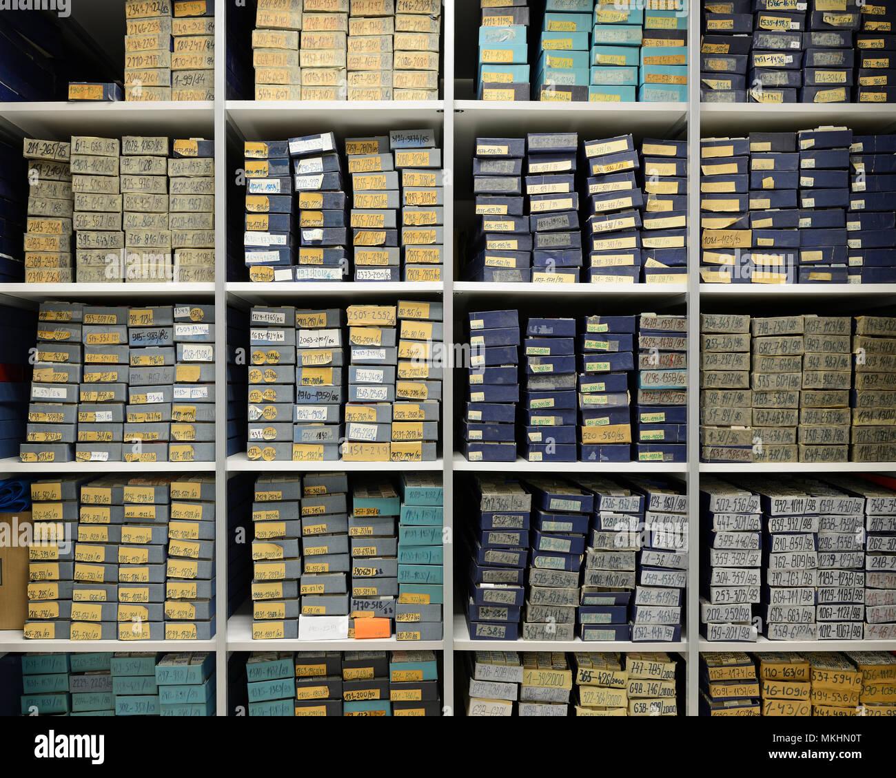 Krankenhaus Archiv der Pathologie Exemplare Stockbild