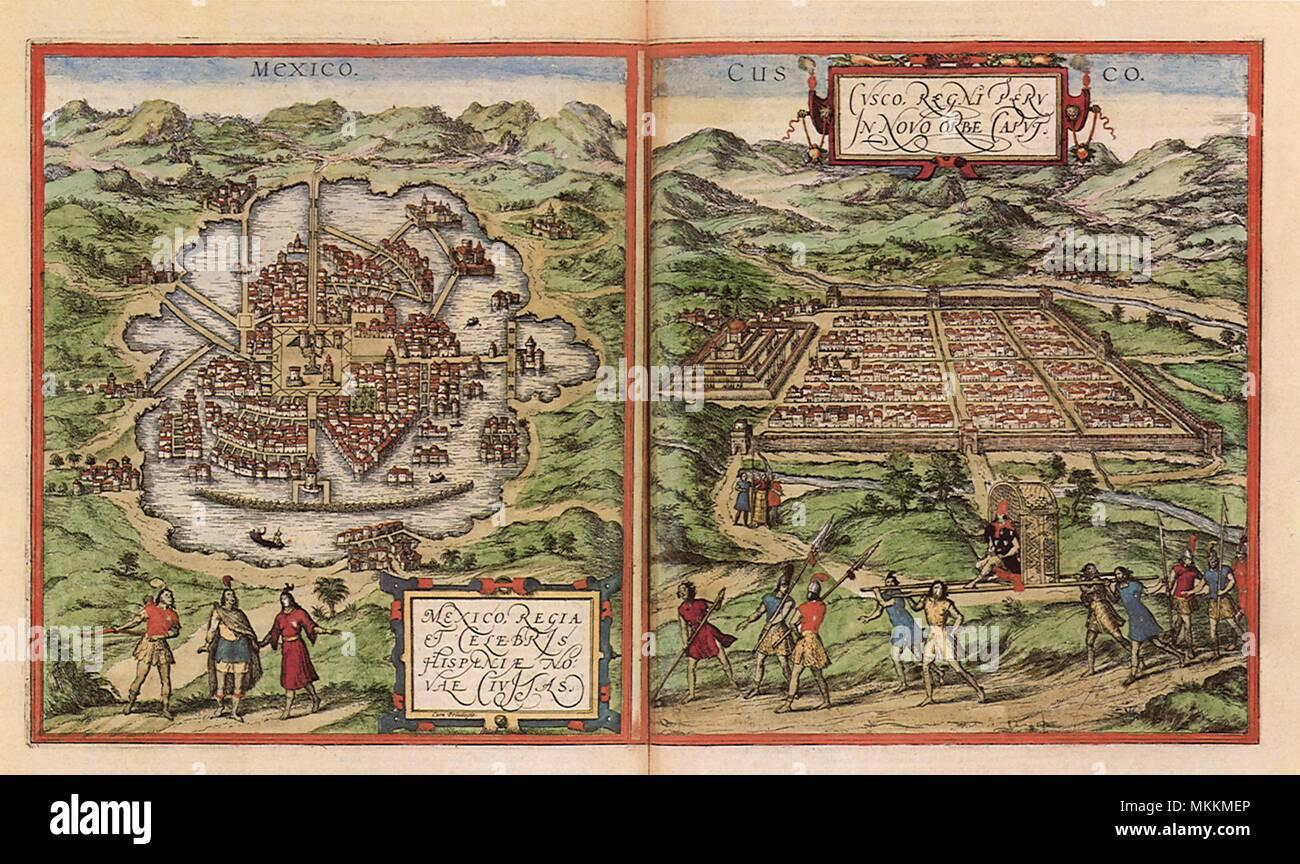Azteken, Inka Kulturhauptstädte 1528 Stockbild
