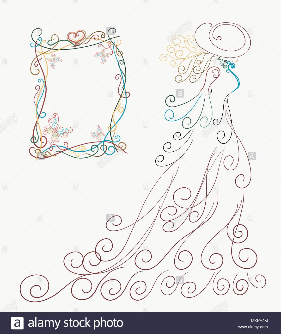 Karte, elegante Silhouette einer Dame in einem wunderschönen Kleid ...