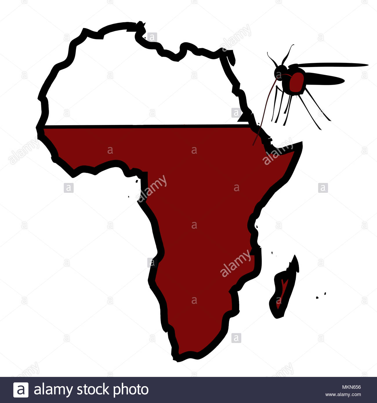 Digital composite Moskitos saugen Blut aus einer Karte von Afrika Stockbild