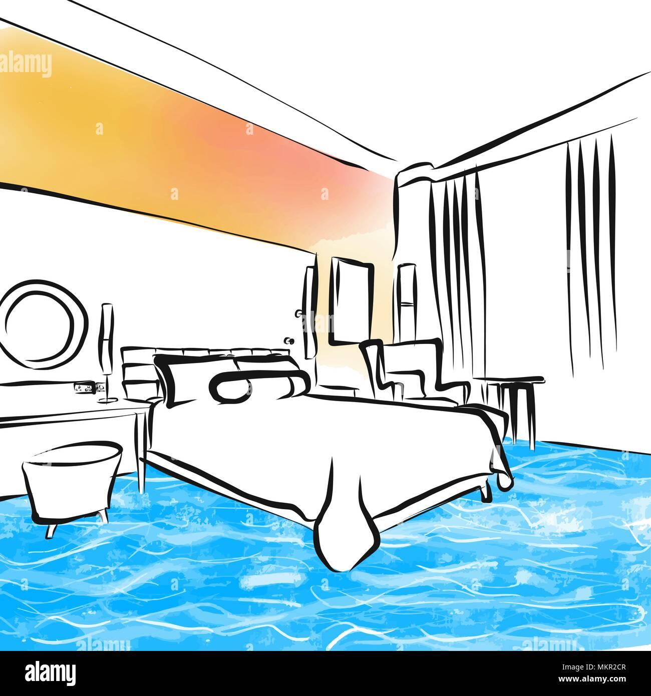 Hotel Schlafzimmer Zeichnung Design Konzept Hand Vector Illustration Gezeichnet Stock Vektorgrafik Alamy