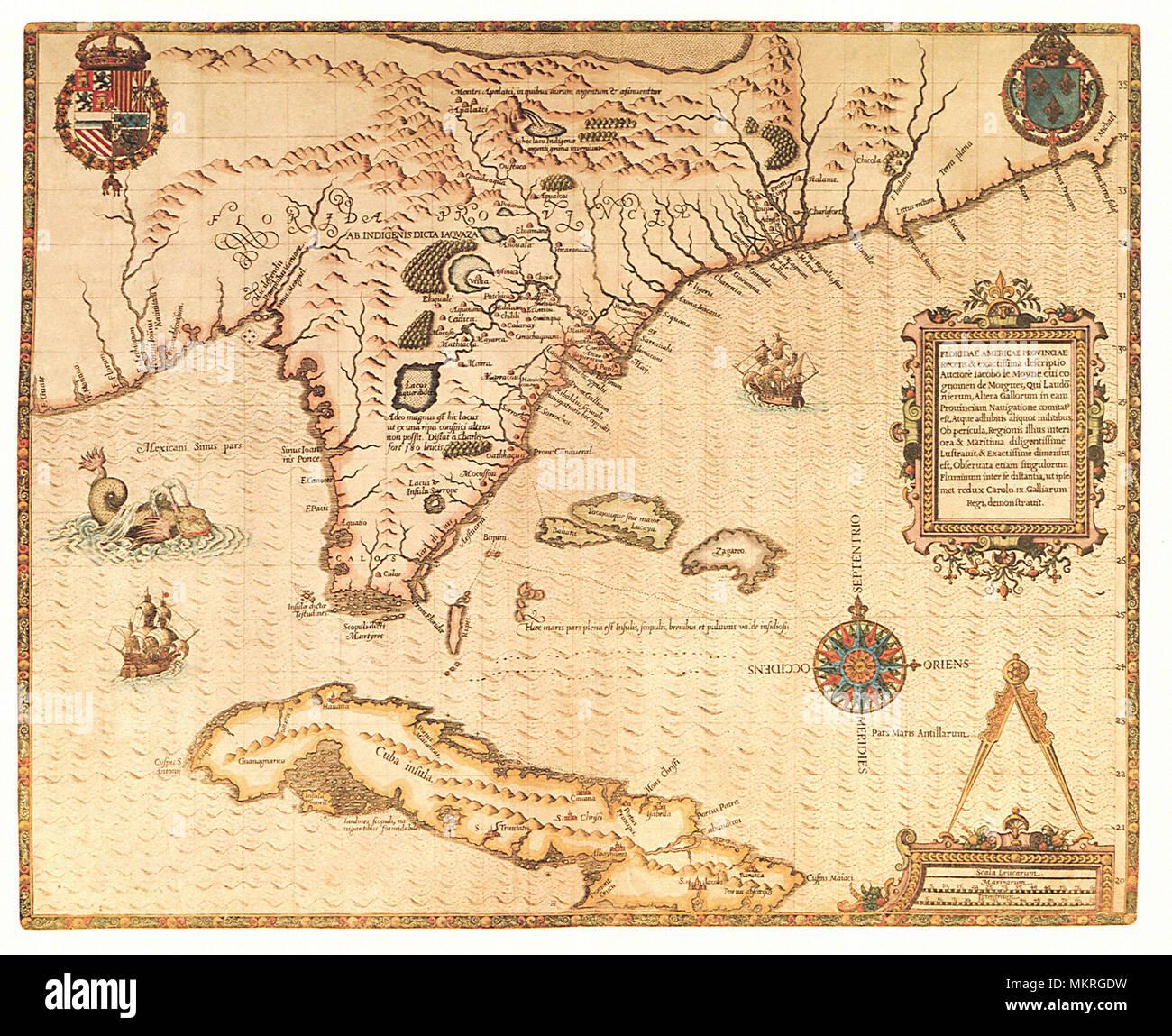 Karte Von Florida Westkuste.Karte Von Florida 1565 Stockfoto Bild 184299973 Alamy