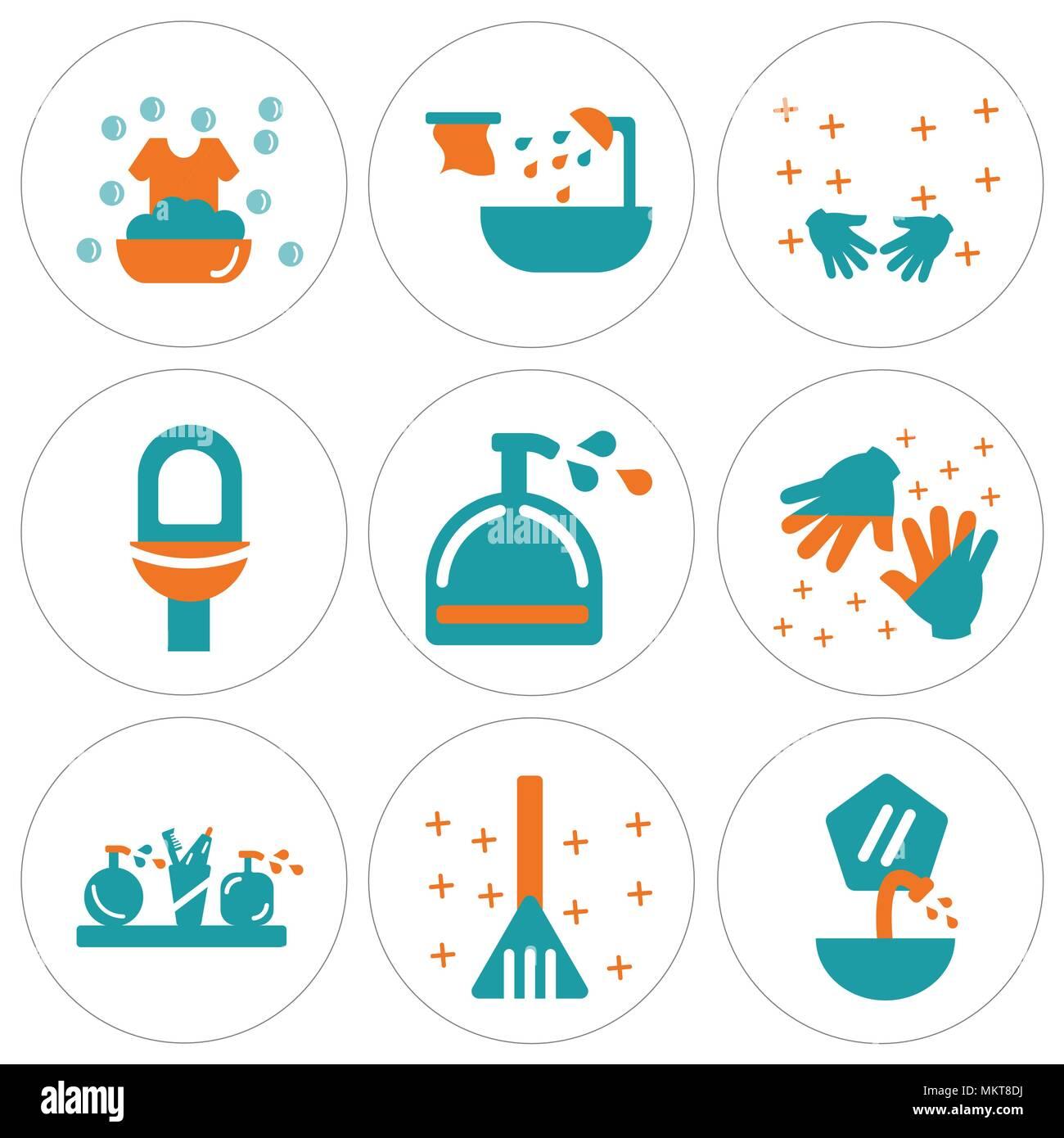 Satz Von 9 Einfache Editierbare Ikonen Wie Waschbecken Kehrblech