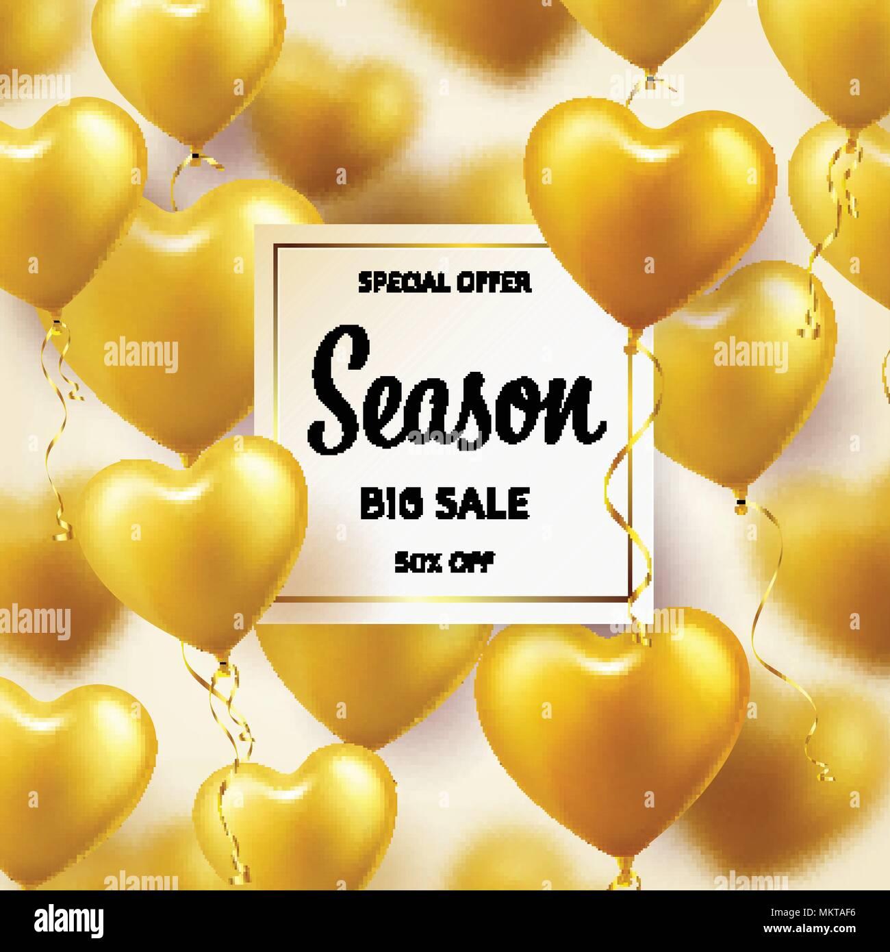 Goldene Luftballons In Herzform Saison Verkauf Banner Mit Gold