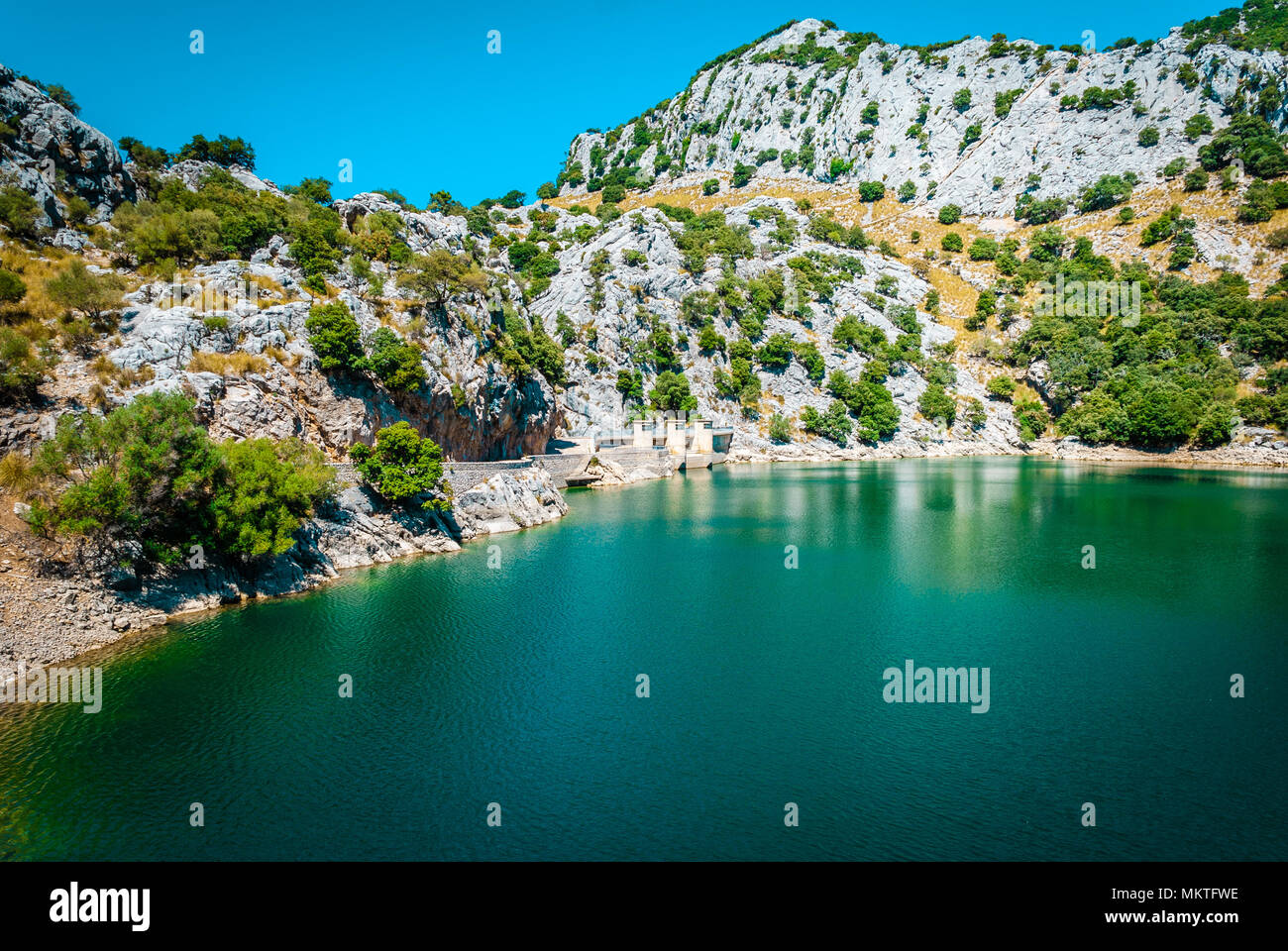Gorg Blau, künstlichen See, Wasserversorgung, Mallorca Stockbild