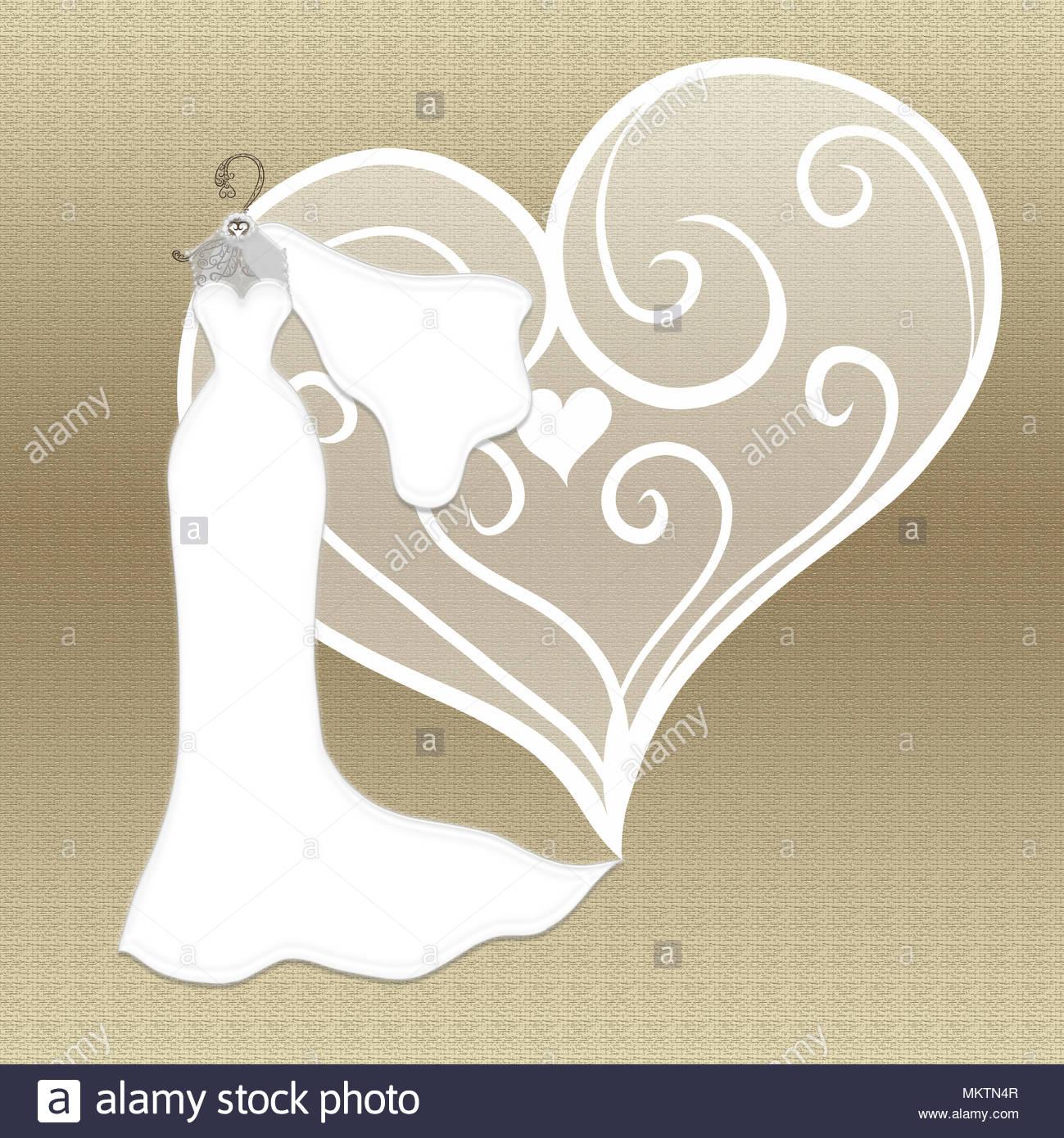 Elegante Hochzeit Kleid Mit Schleier Auf Einem Goldenen