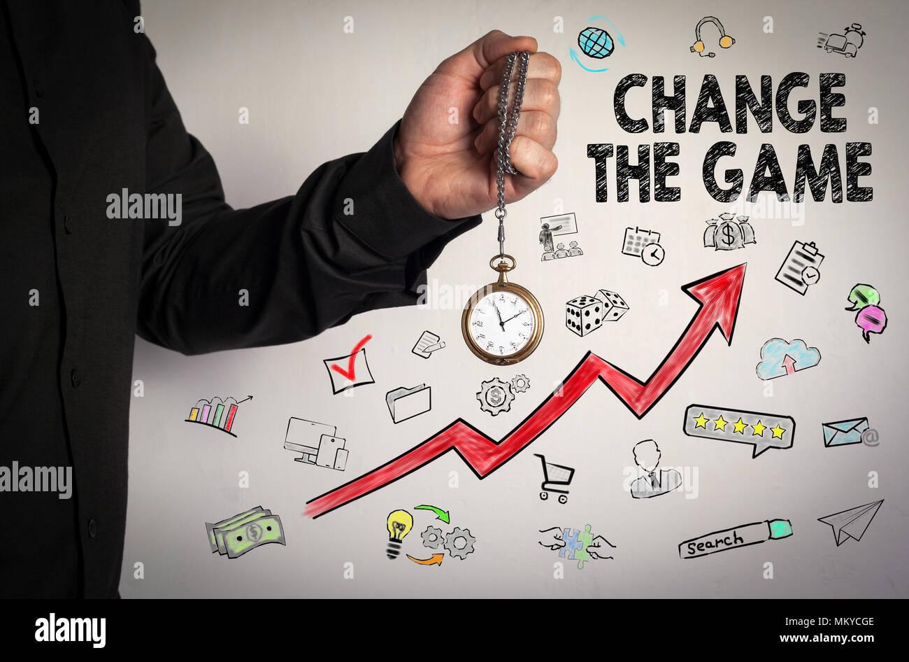 Ändern Sie das Spiel. Business Konzept Stockbild