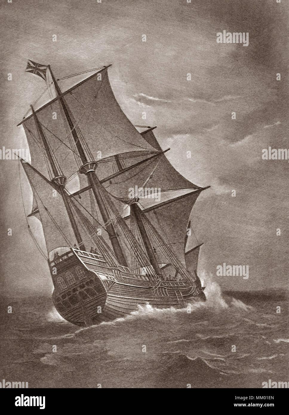Die Mayflower auf See. Plymouth. 1620 Stockbild