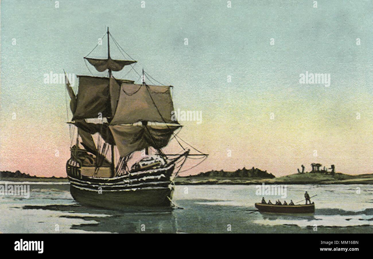 Mayflower in Plymouth Hafen. 1620 Stockbild