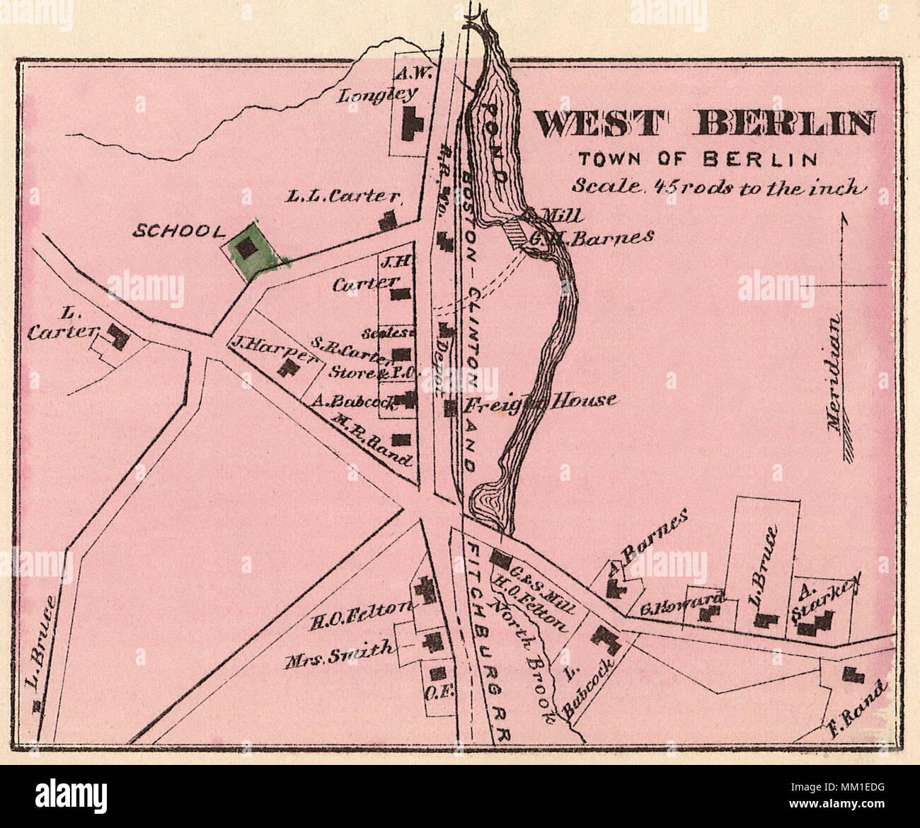 West Berlin Karte.Karte Von West Berlin 1870 Stockfoto Bild 184430108 Alamy
