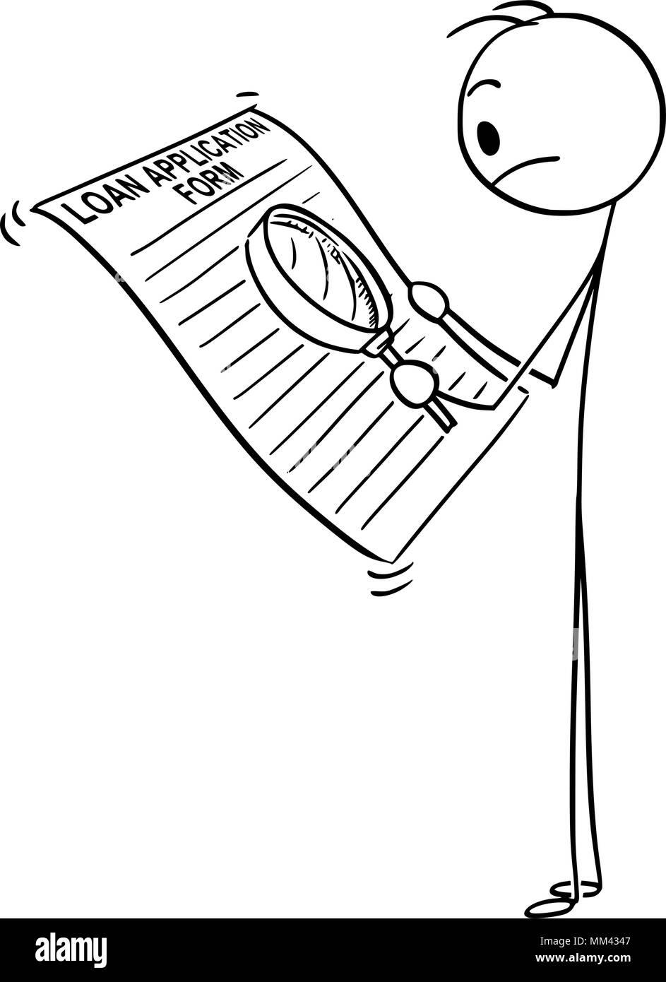 Cartoon von Mann oder Geschäftsmann lesen Kreditvorlage-form mit ...