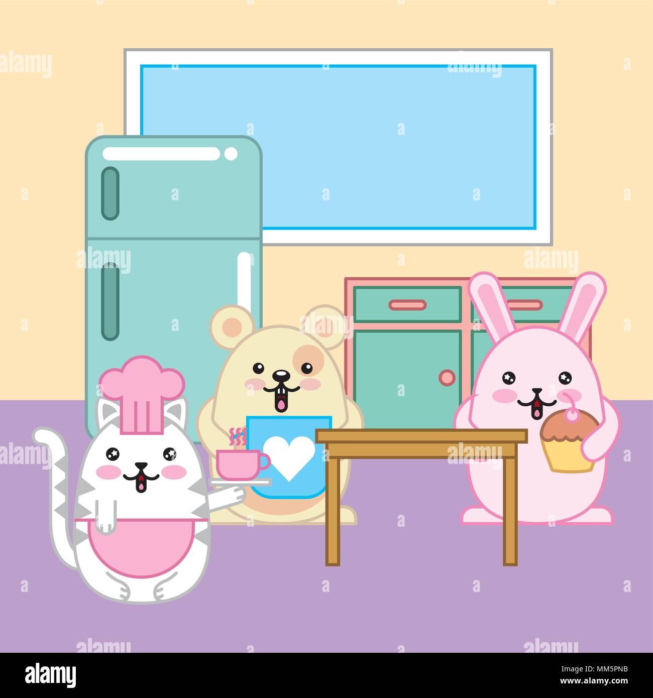 Köche Cat Kaninchen Maus kawaii in Küche cartoon Vector Illustration ...