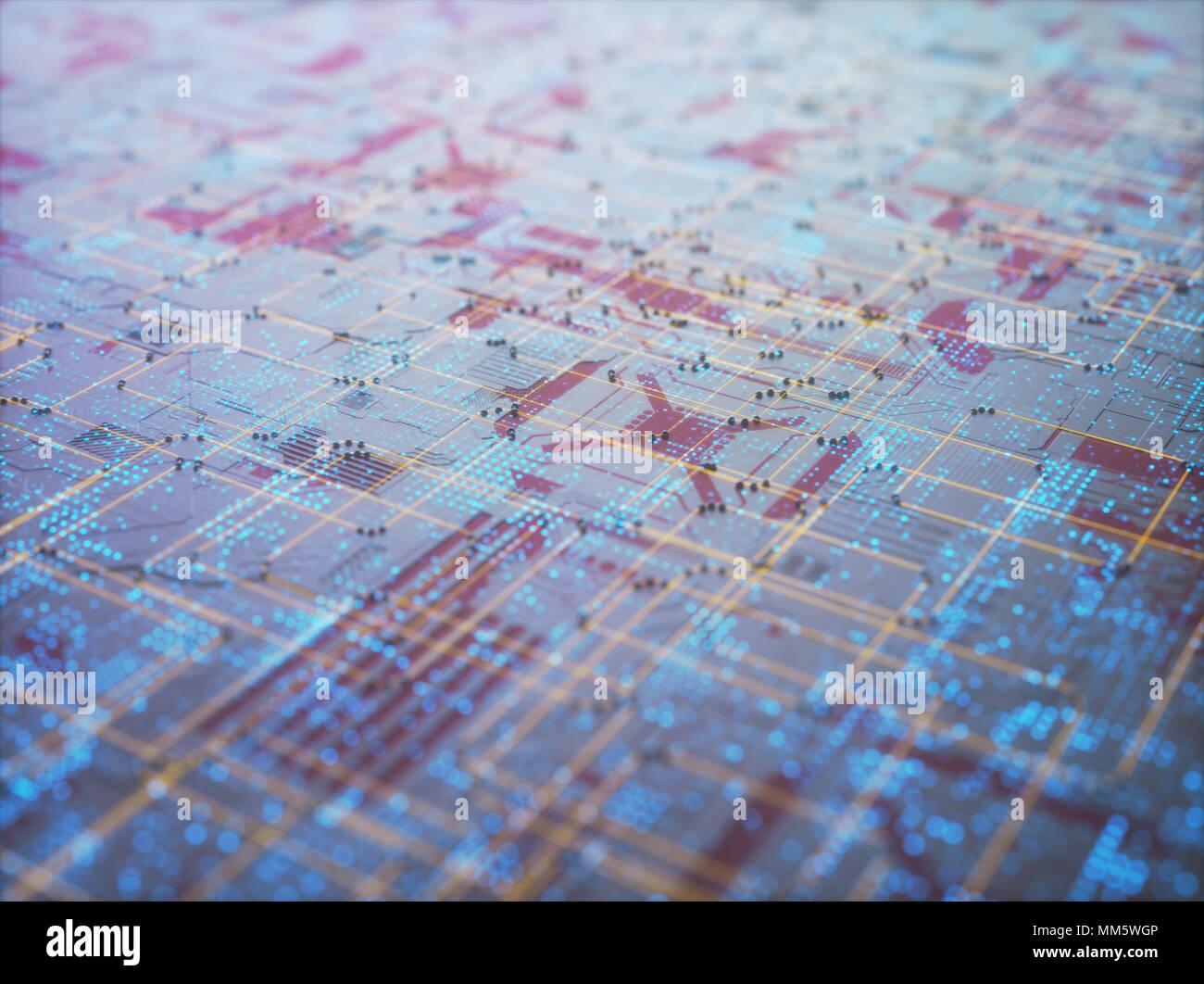 3D-Darstellung. Abstrakten 3D-Struktur für den Einsatz als Hintergrund in technologischen Thema. Stockbild