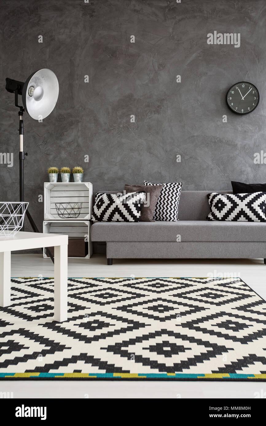 Moderne Einrichtung Von Wohnzimmer Mit Grauen Wände Und Schwarzen Und  Weißen Teppich Auf Holzboden