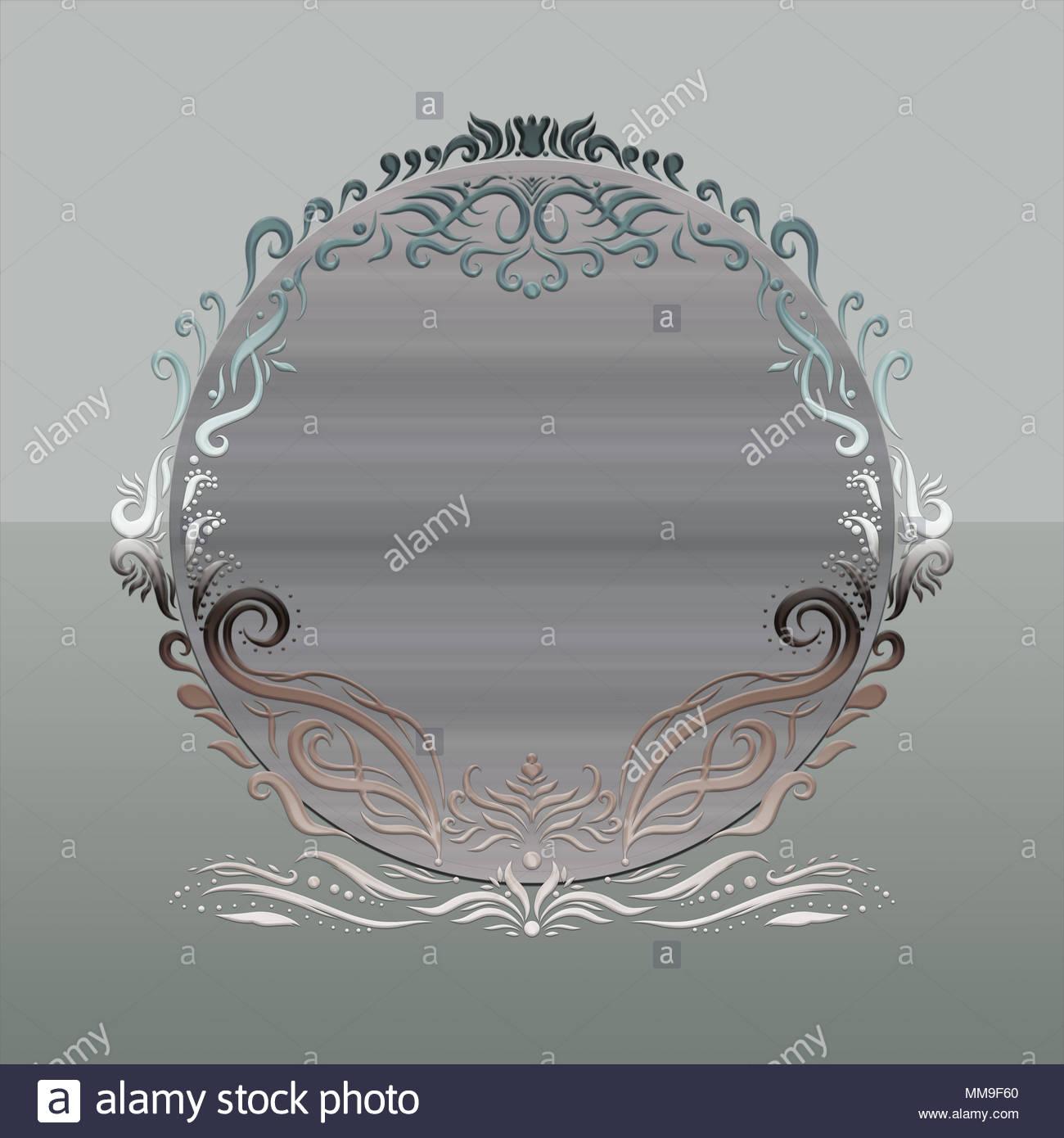 Elegante runden Rahmen, gemalten Linien mit Wirbel Stockfoto, Bild ...