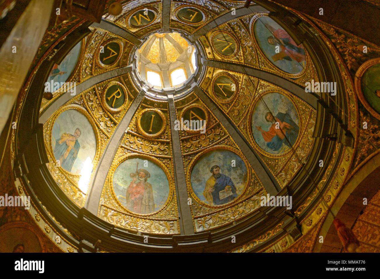 Decke des Ave Maria Kirche Mallorca Stockbild