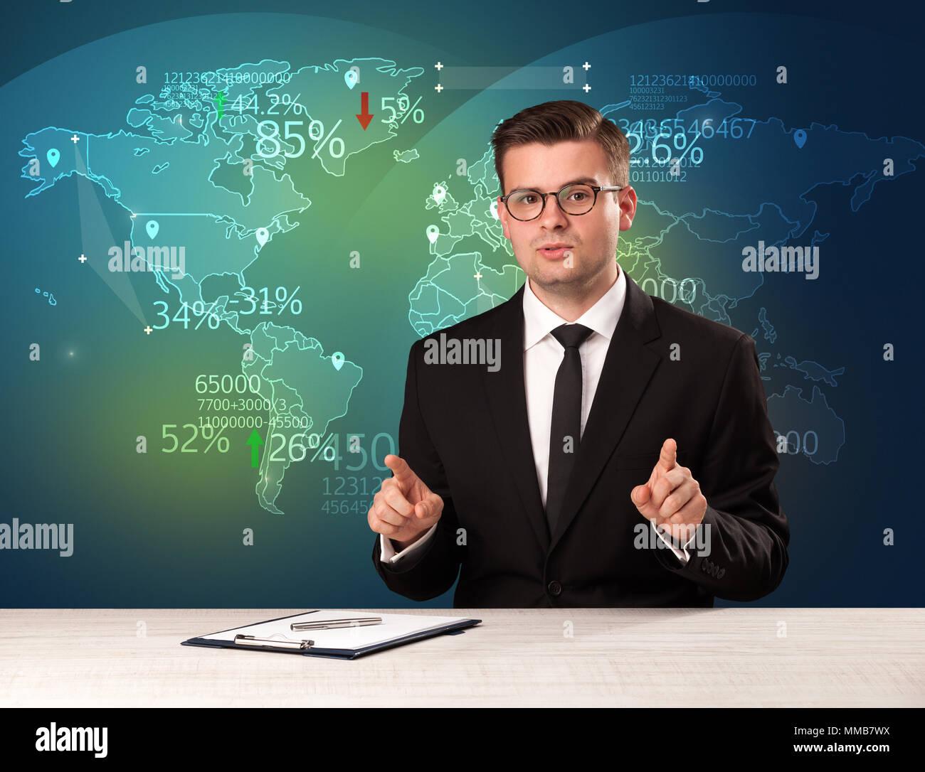 Handel Marktanalyst ist Studio Berichterstattung World Trading News mit Karte Konzept im Hintergrund Stockbild