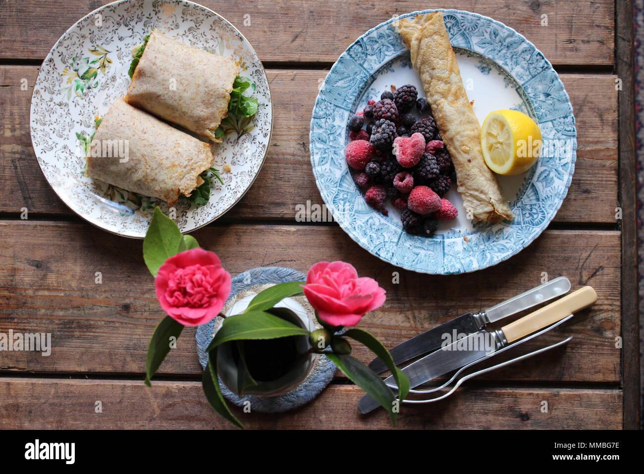 Vegan veganer Pfannkuchen, Crepes Stockbild