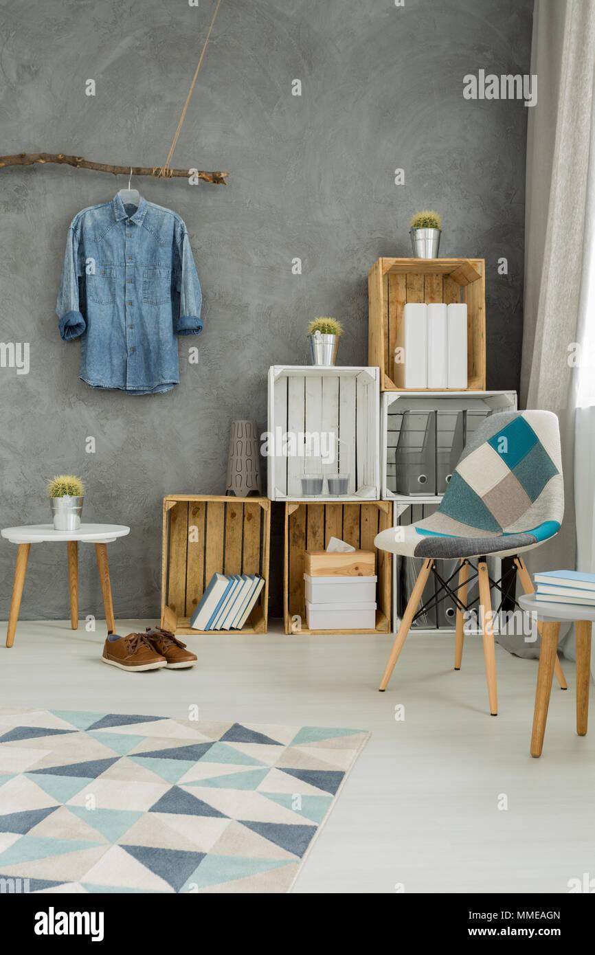 modernes interieur design farben, moderne minimalistische wohnzimmer interieur in den farben cyan mit, Design ideen