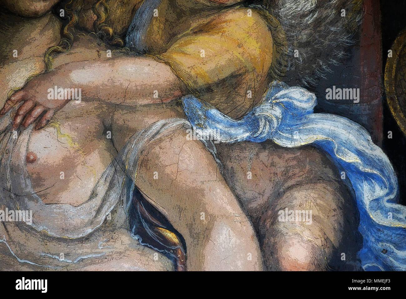 Detail (in PS gerendert) aus der freien Ehe von Alexander dem Großen und Roxanne, original von Sodoma, Villa Farnesina, Rom Stockfoto