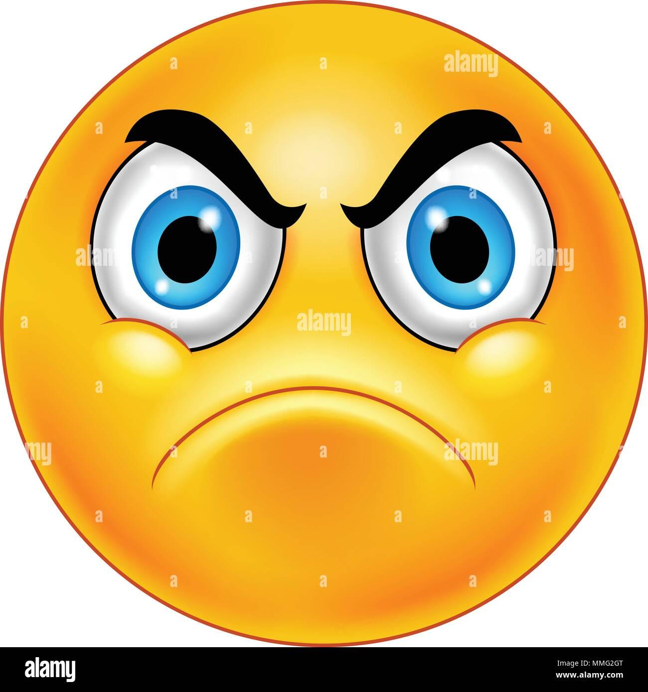 Cartoon genervt Smiley Emoticon Vektor Abbildung - Bild