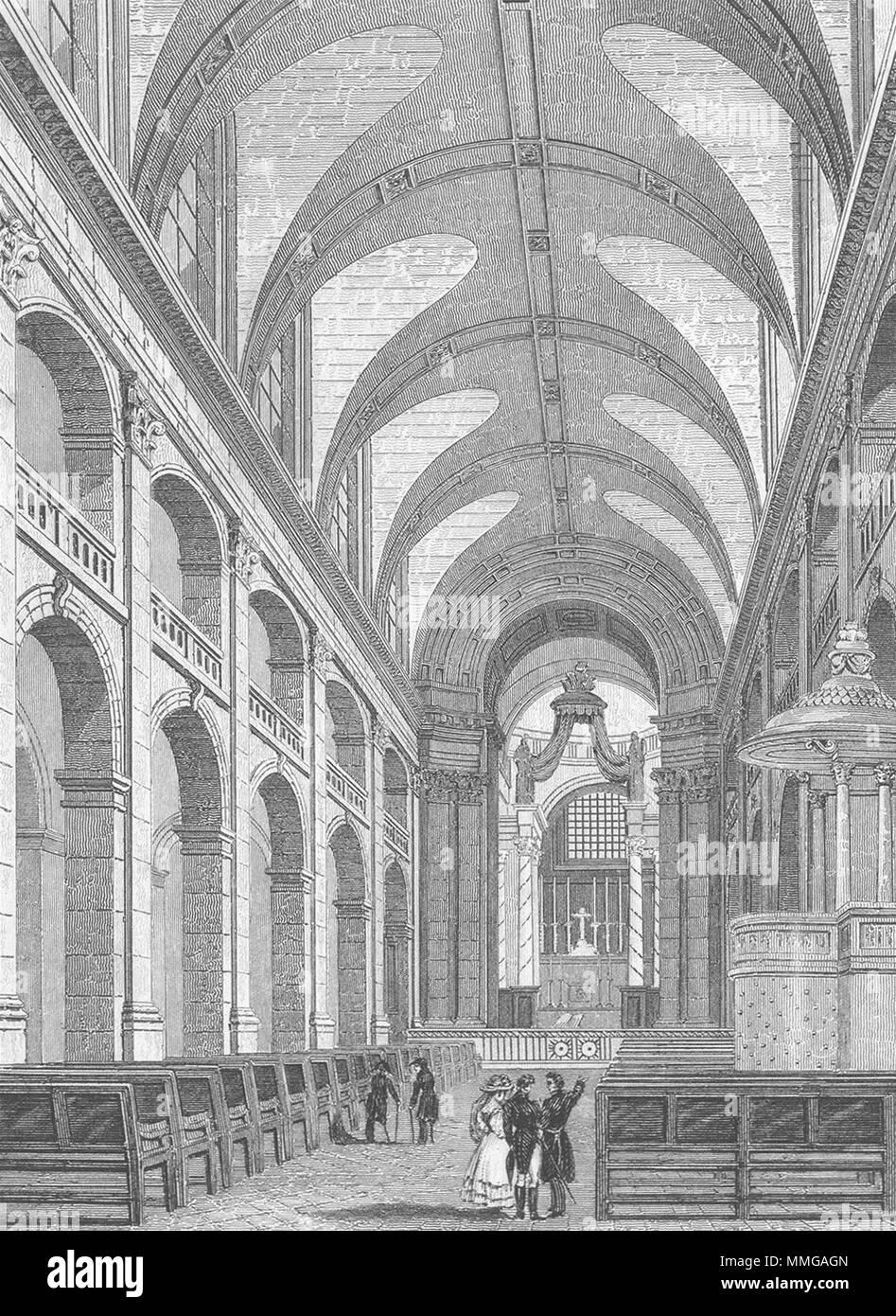 INVALIDES. L'interieur Chapelle. Frankreich 1828 alte antike Bild drucken Stockbild