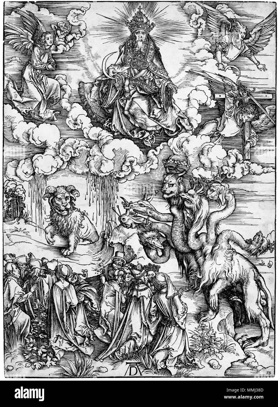 Das Tier mit zwei Hörnern wie ein Lamm (B. 74; M., Holl. 175) * Holzschnitt aus der Apokalypse * 39 x 28,2 cm * ca. 1496-1497 Durer, apocalisse, 12 il mostro Marino e la Bestia Stockfoto