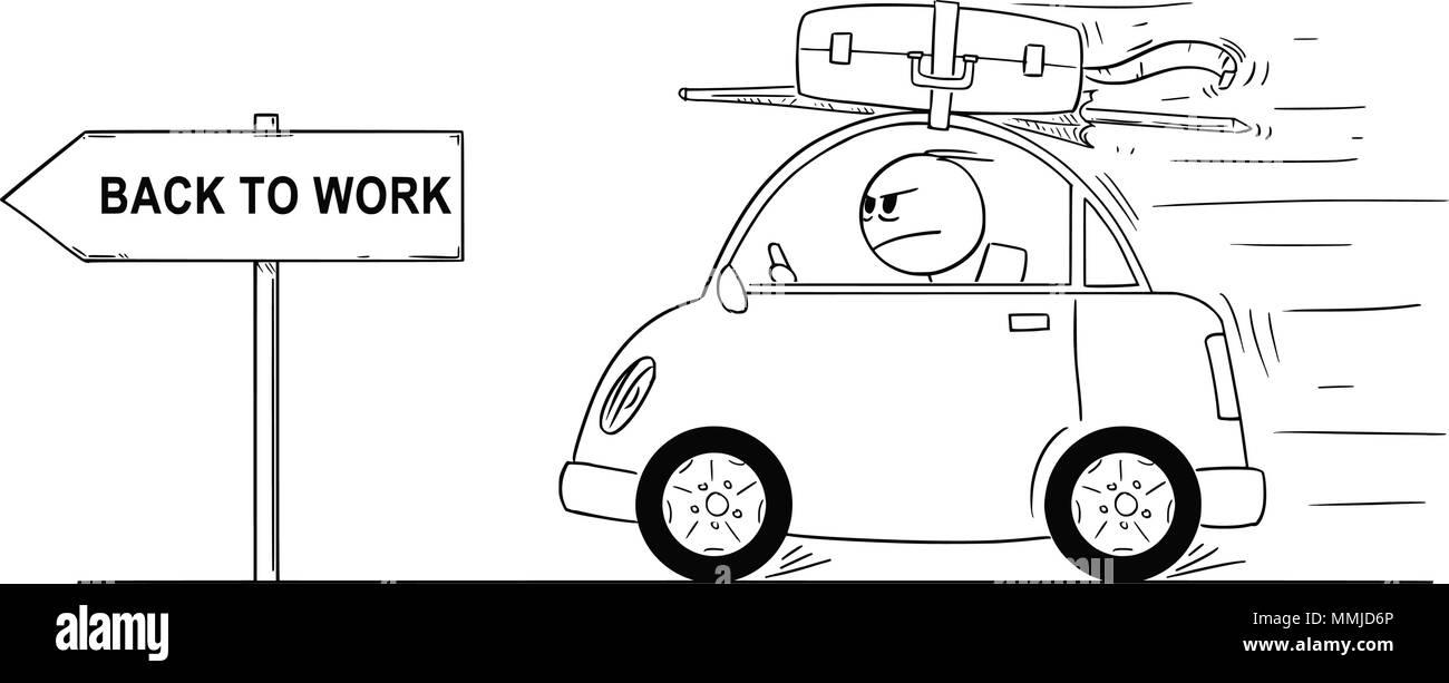 cartoon des ungl cklich oder w tenden mann zur ck zu gehen oder wieder in kleinen auto von. Black Bedroom Furniture Sets. Home Design Ideas