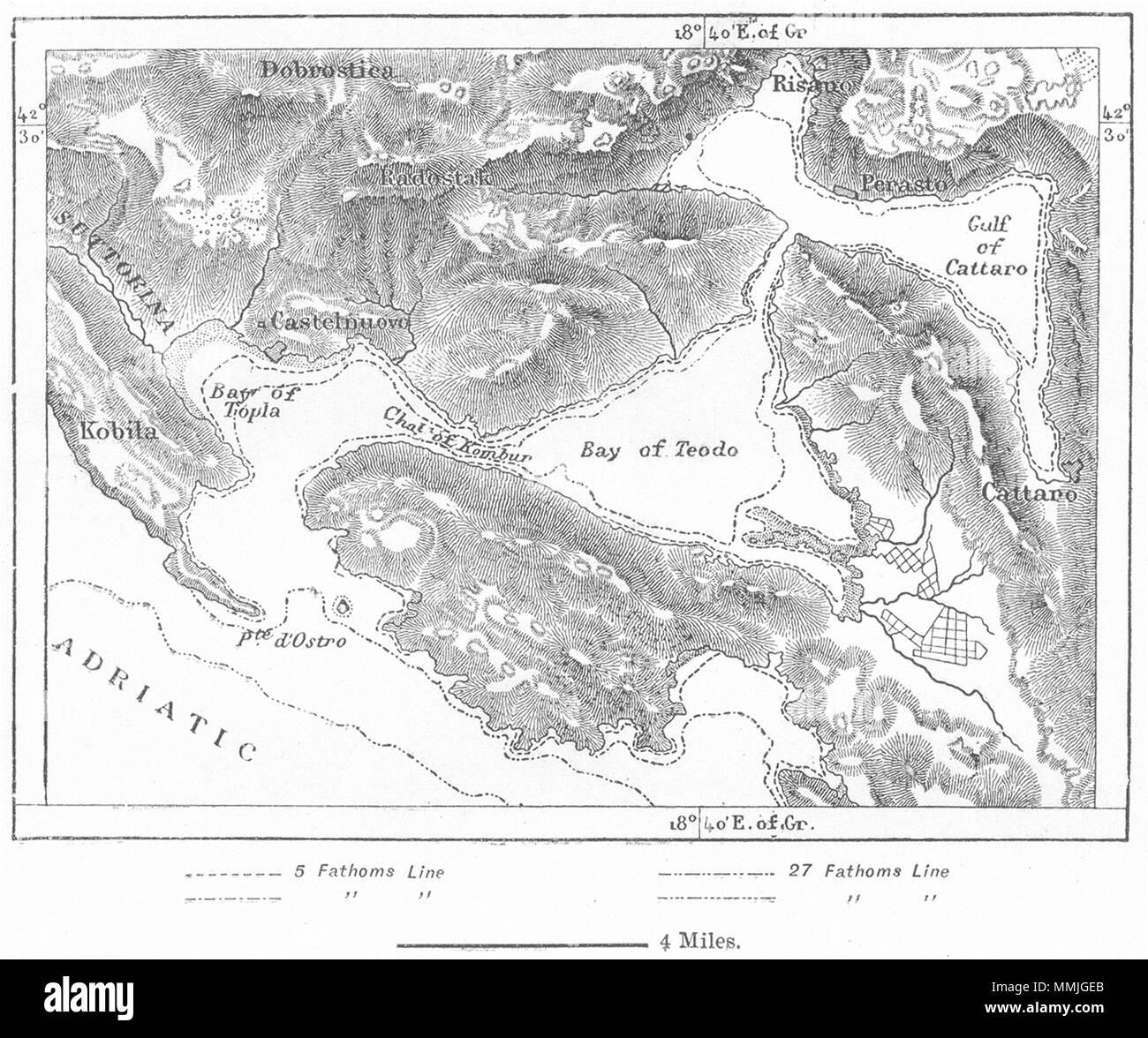Kotor Montenegro Karte.Montenegro Die Bucht Von Kotor Skizze Karte C 1885 Alte