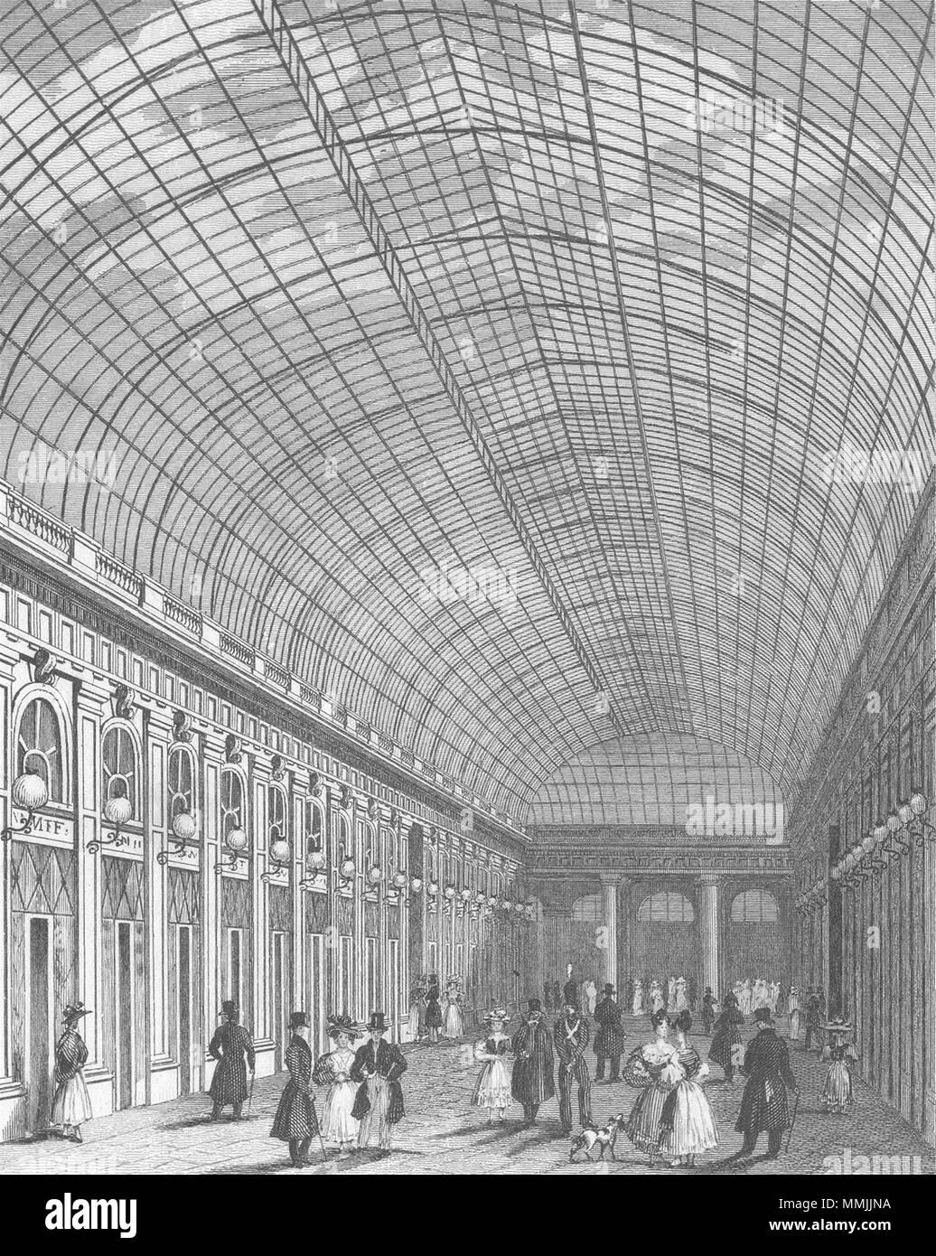 PARIS. Galerie Palais Royal. Hund 1828 alte antike vintage Bild drucken Stockbild