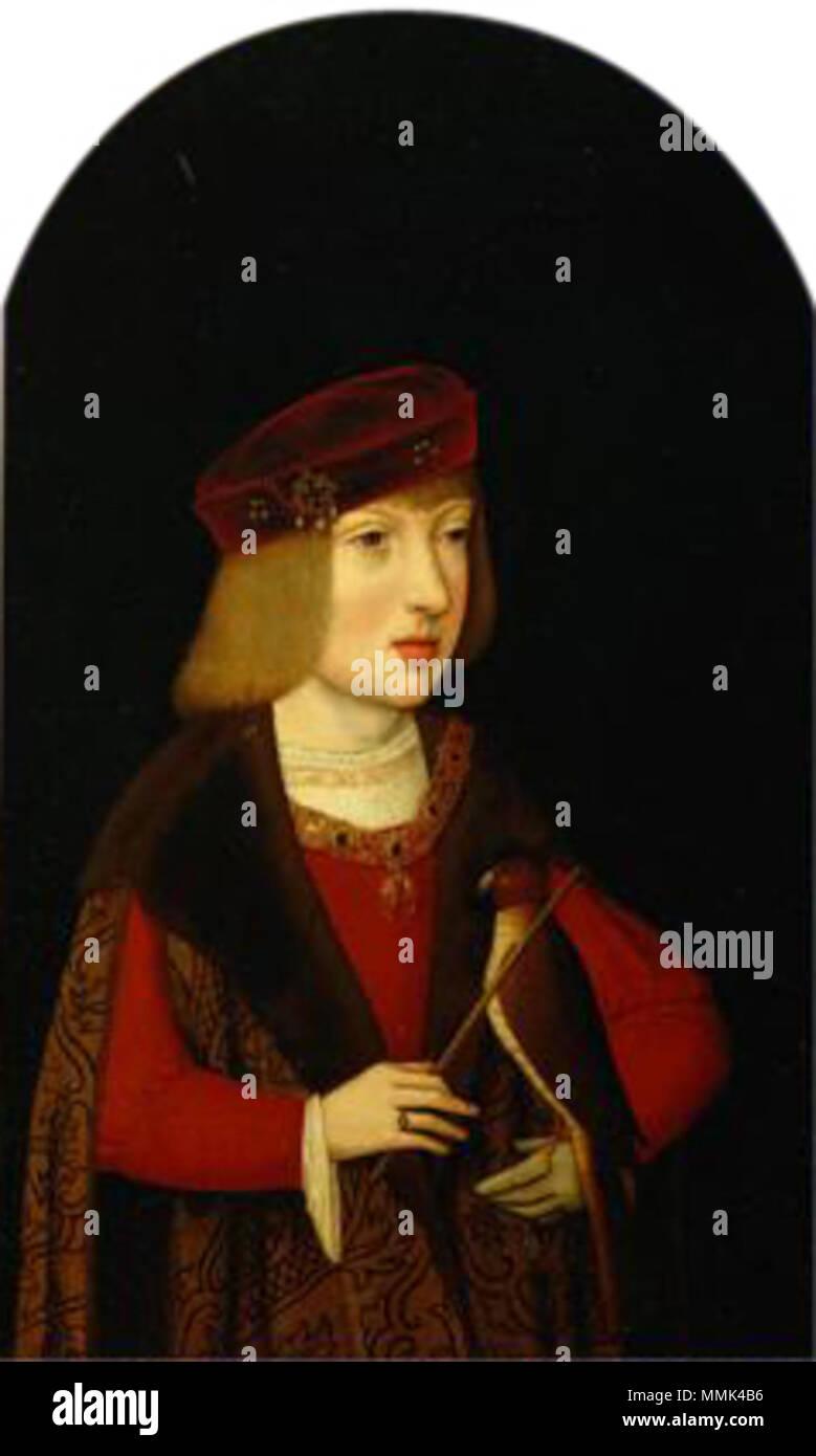. English: Kaiser Karl V. (1500-1558) als Siebenjähriger mit einem Jagdfalken, Halbfigurenbild Portrait von Karl V. (1500-1558). ca. 1507. Meister der Magdalenenlegende003 Stockbild