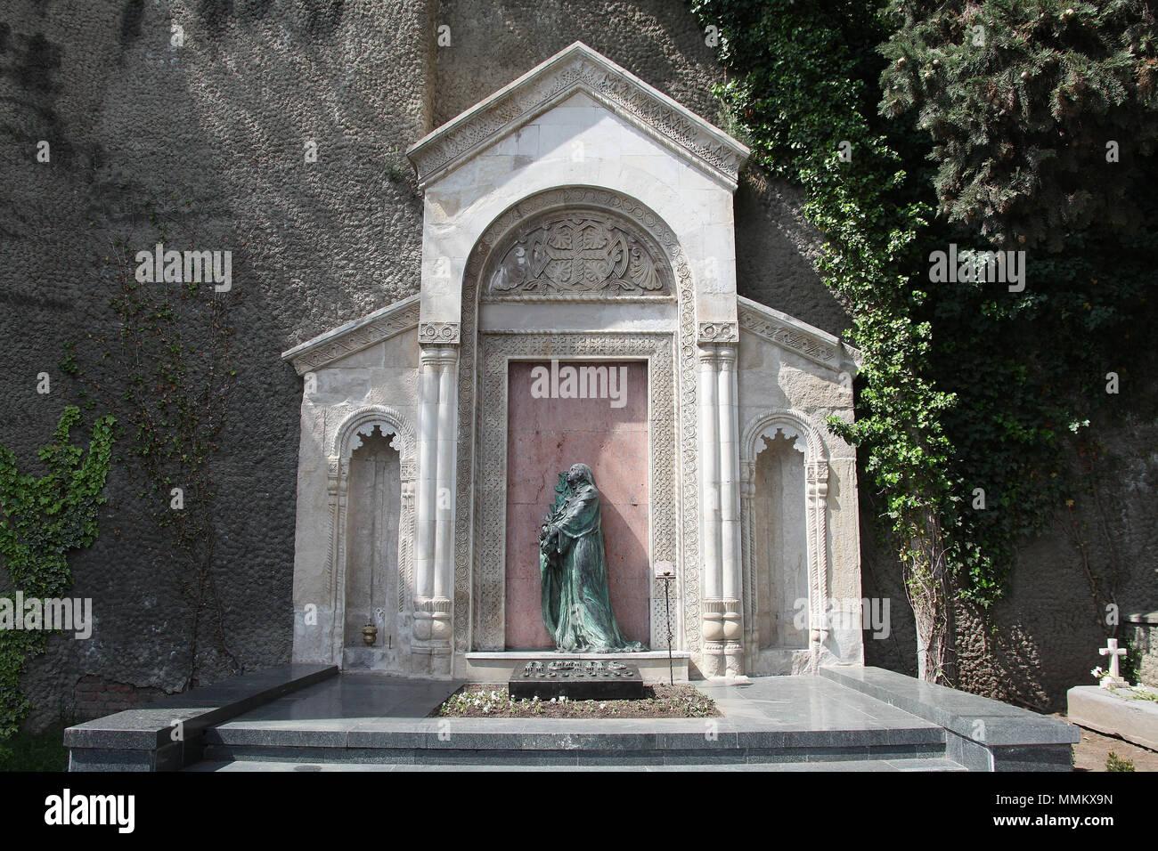 Mtatsminda Pantheon von Autoren und Persönlichkeiten des öffentlichen Lebens in Tiflis Stockbild